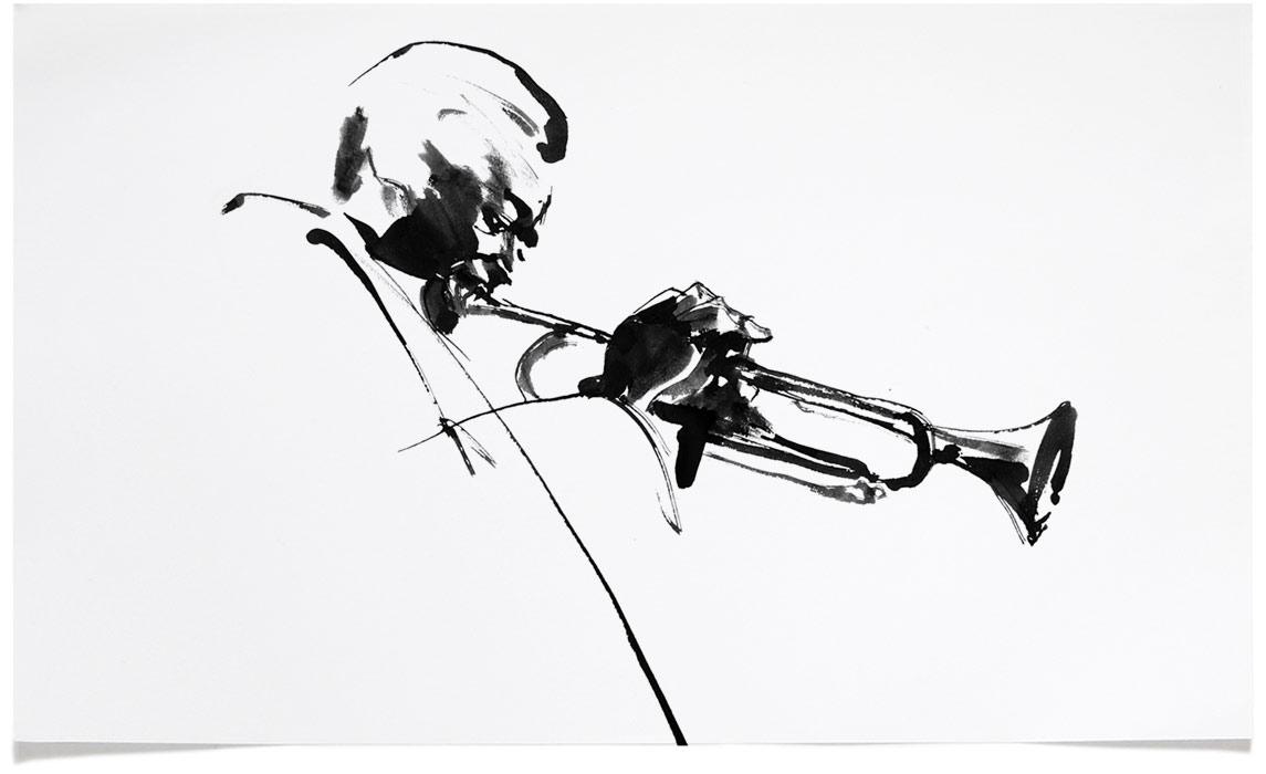 Miles Davis -  Jazz Illustrations - Music CD Cover Illustration by Eri Griffin