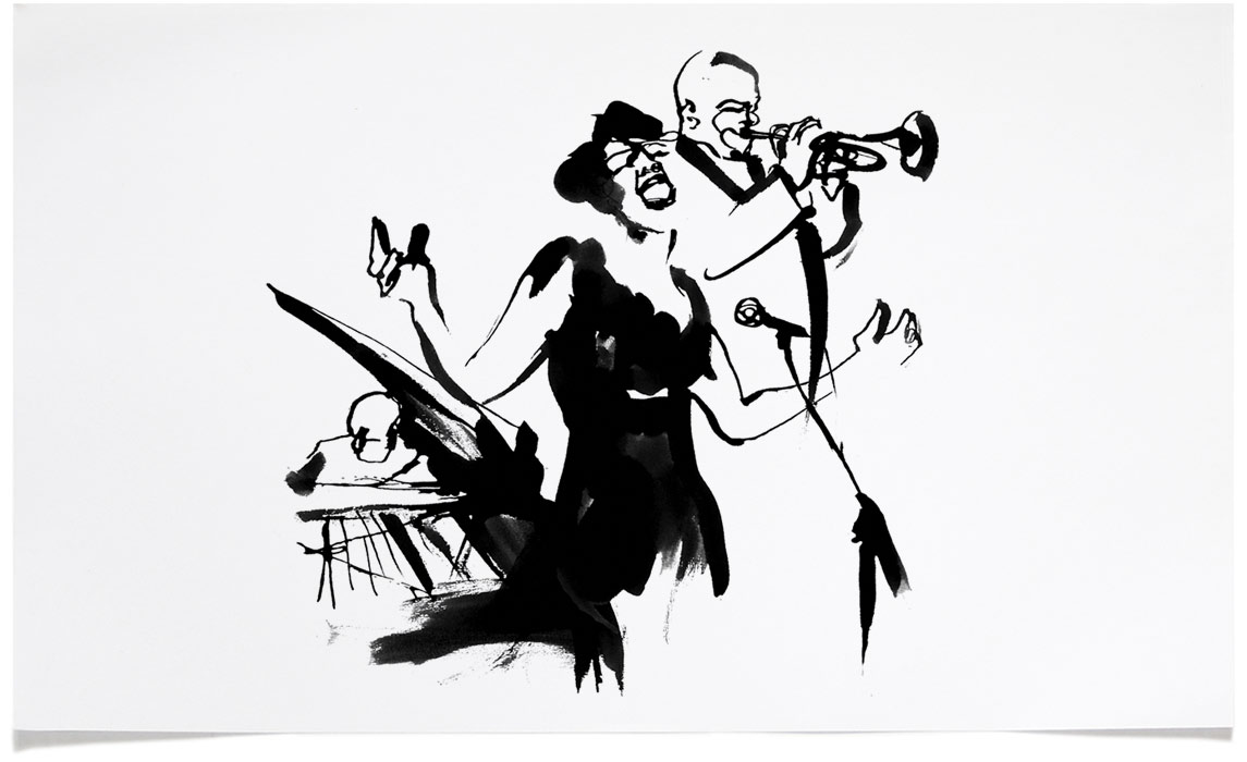 Jazz fine Art - Ink Illustration by Eri Griffin