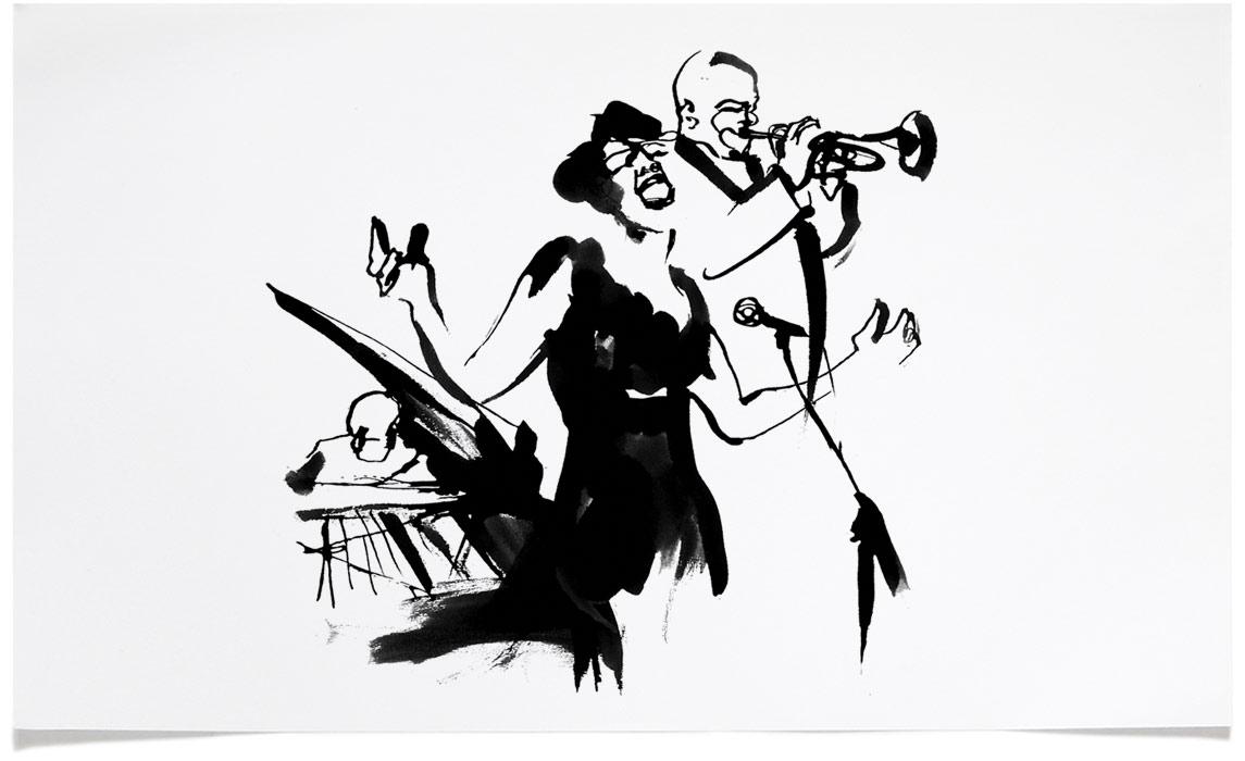Jazz fine Art - Ink Illustration by Eri Griffin