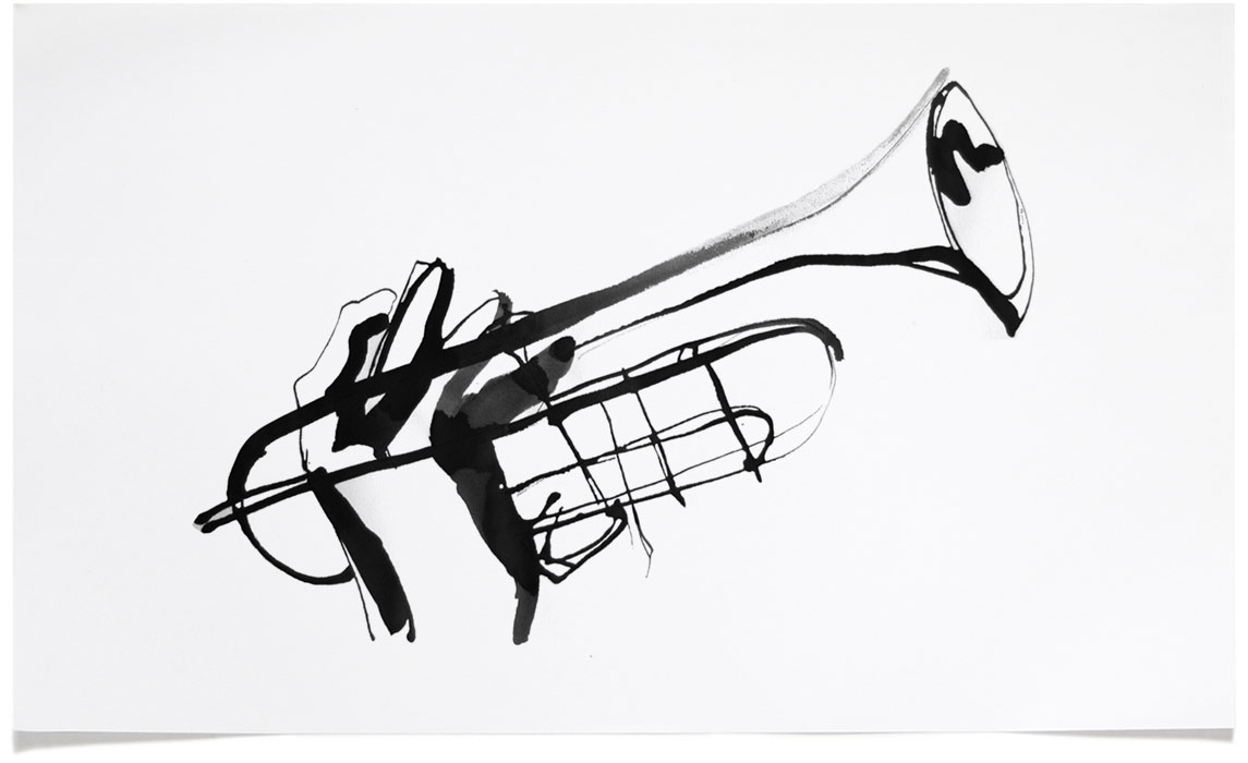 Jazz T-shirt Illustrations - Trumpet Ink Illustration by Eri Griffin