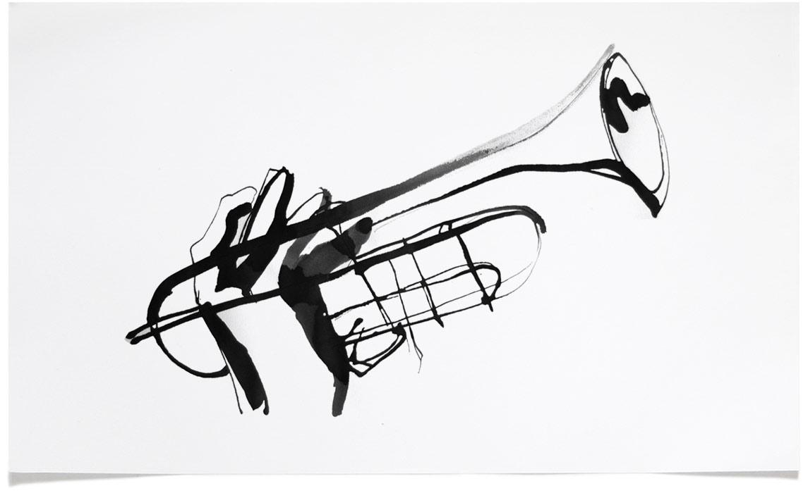Jazz T-shirt Illustrations - Trumpet Ink Illustration by Eri Griffin