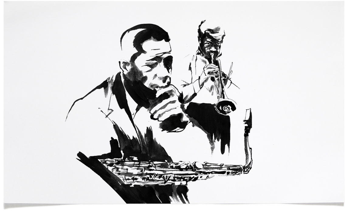 John Coltrane and Miles Davis -  Jazz Illustrations - Music CD Cover Illustration by Eri Griffin