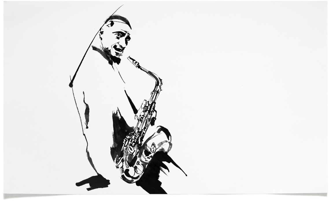 Sonny Rollins -  Jazz Illustrations - Music CD Cover Illustration by Eri Griffin
