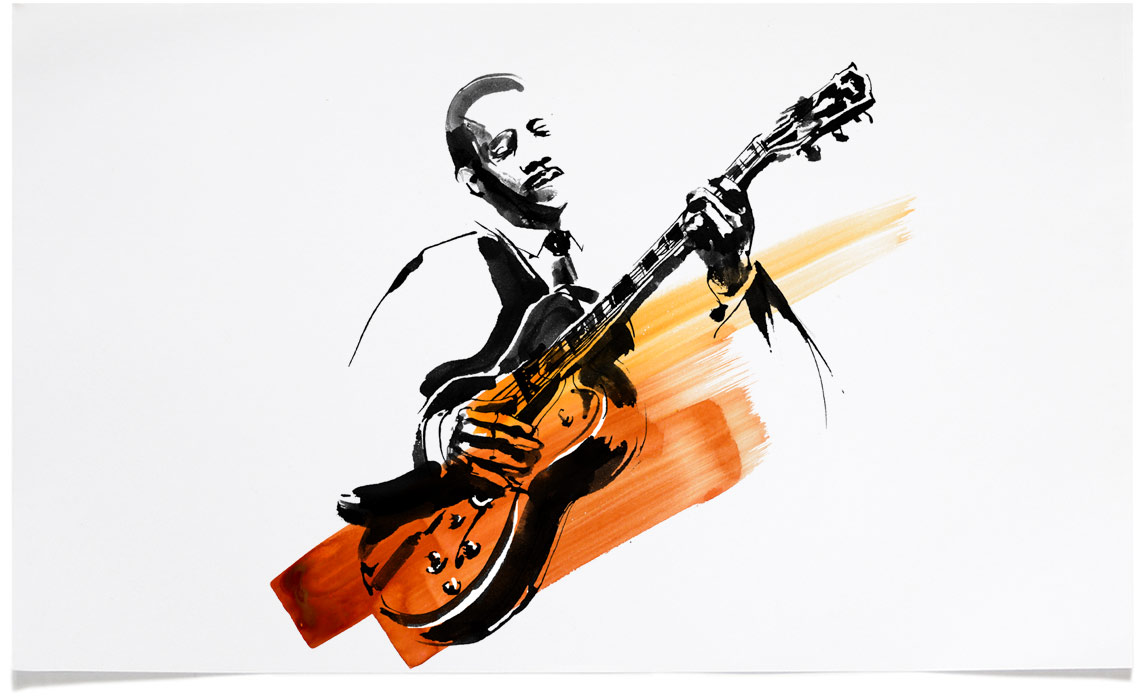 Wes Montgomery -  Jazz Illustrations - Music CD Cover Illustration by Eri Griffin