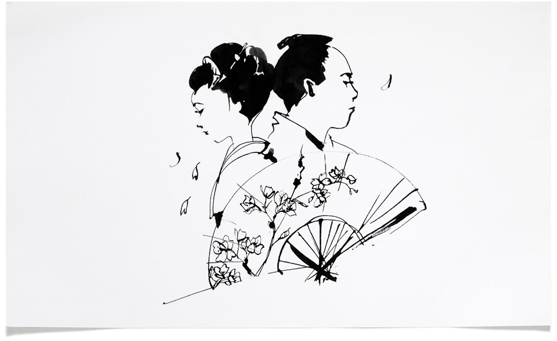 Opera at Chequers The Mikado - Book Illustrations - Ink Illustration by Eri Griffin