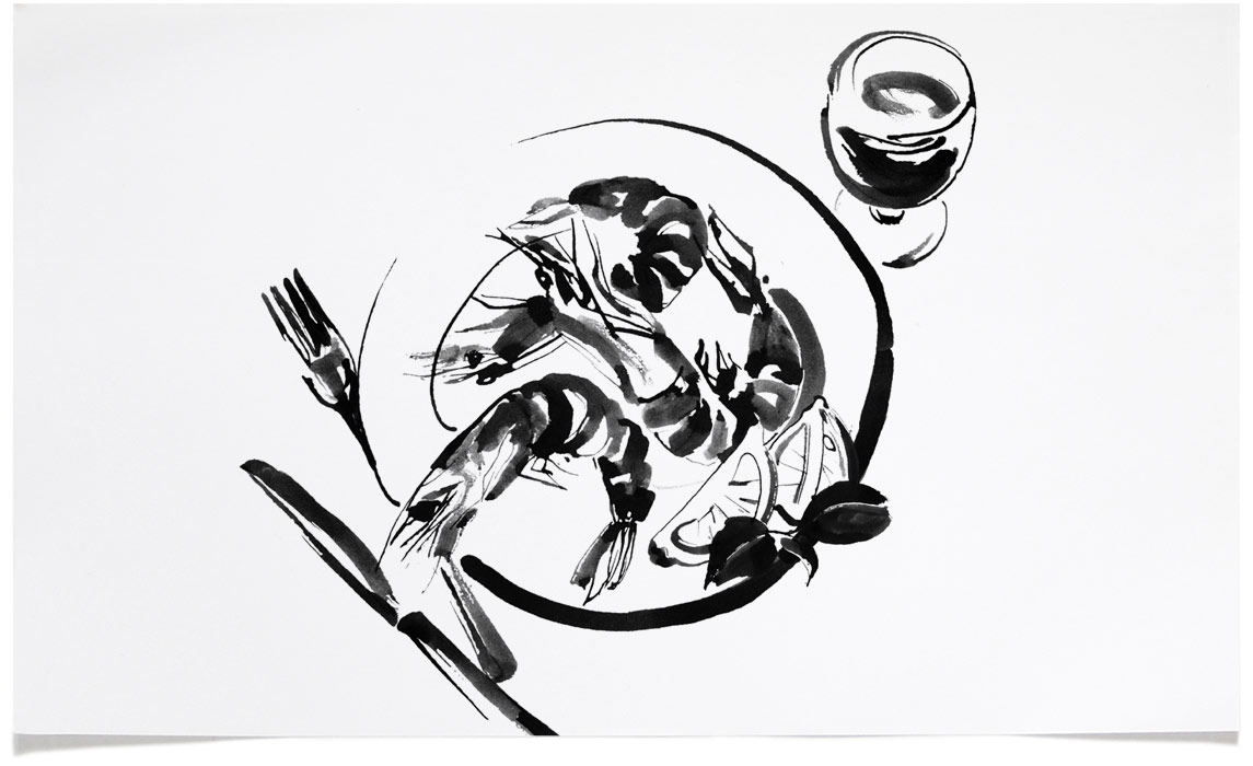 Food and Wine Illustrations - Ink Illustration by Eri Griffin