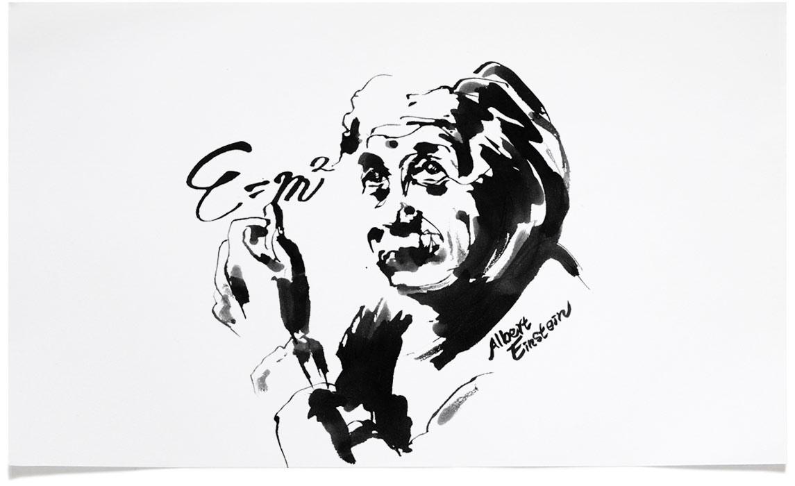Albert Einstein - Portrait Illustrations - Ink Illustration by Eri Griffin