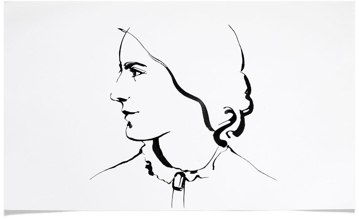 Octavia Hill - Portrait Illustrations - Ink Illustration by Eri Griffin