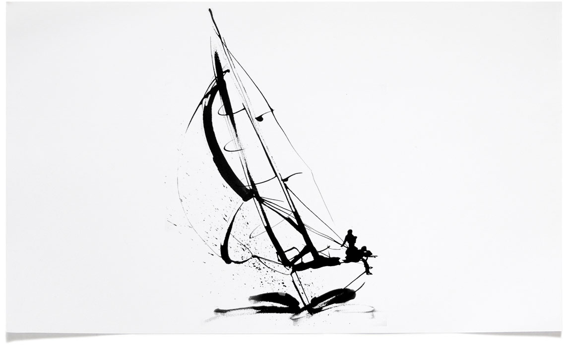 Racing Yatch - Sports Illustrations - Ink Illustration by Eri Griffin