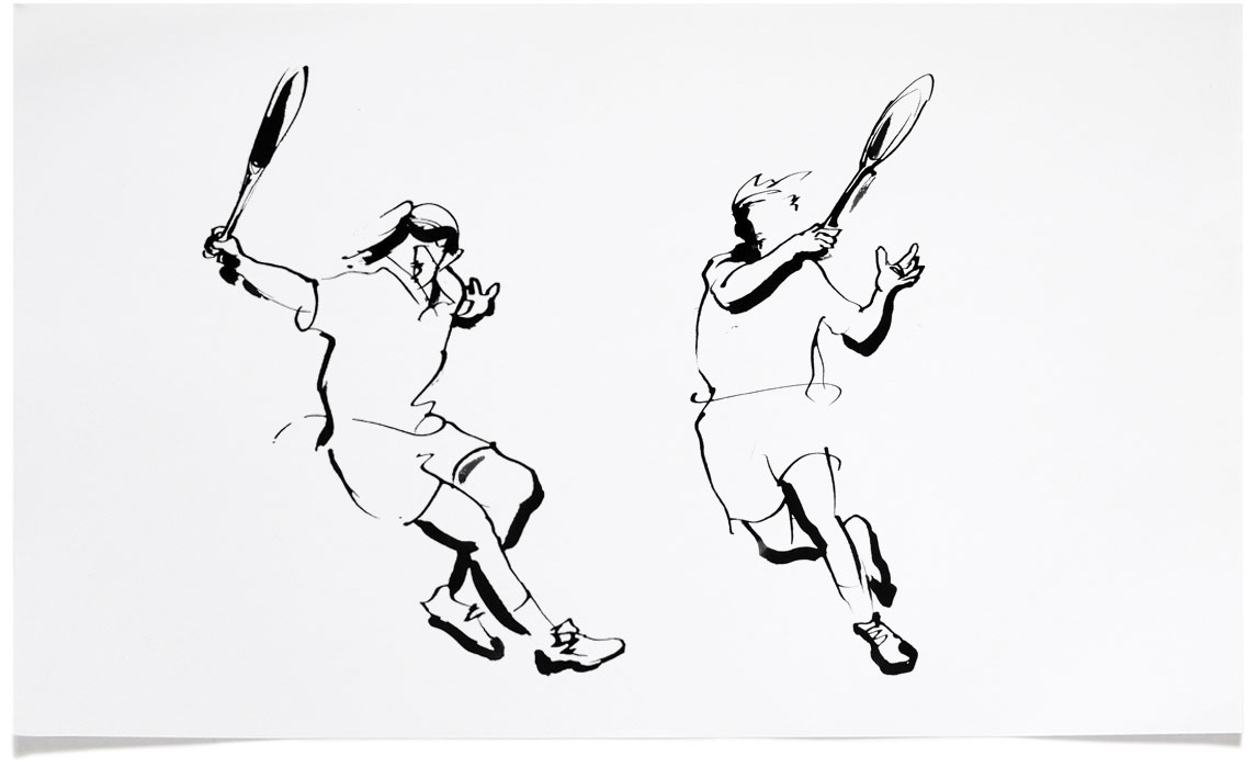 tennis - Sports Illustrations - Ink Illustration by Eri Griffin