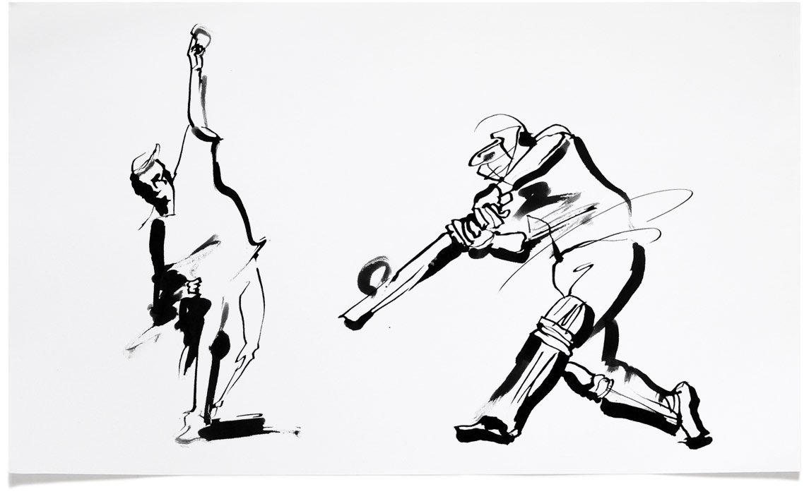Cricket - Sports Illustrations - Ink Illustration by Eri Griffin